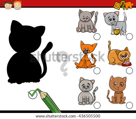 Cartoon Illustration of Educational Shadow Activity Task for Preschool Children with Cats