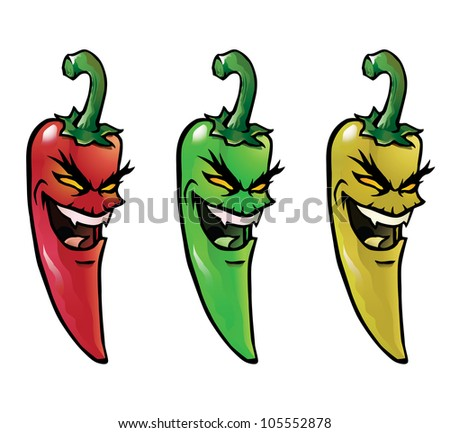 Cartoon illustration of evil looking hot chili peppers - stock vector