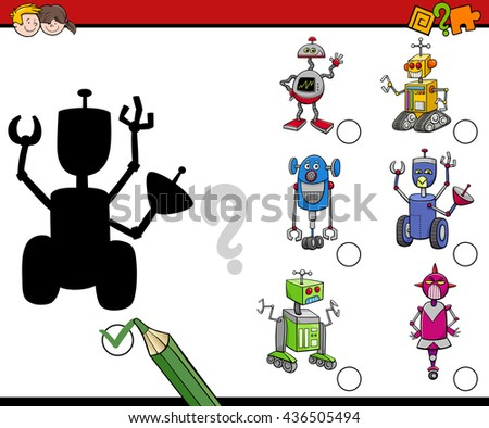 Cartoon Illustration of Find the Shadow Educational Activity for Preschool Children with Robots