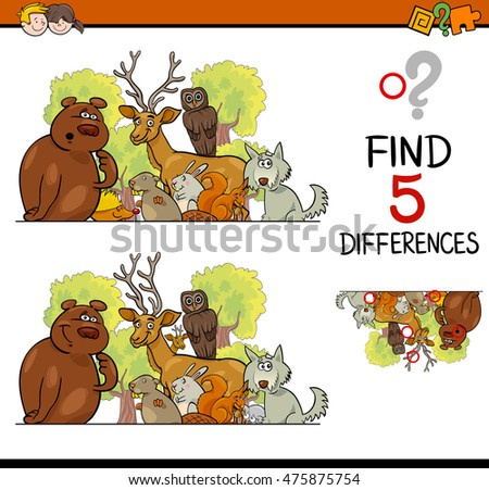 Cartoon Illustration of Finding Differences Educational Activity Task for Children with Wild Animal Characters