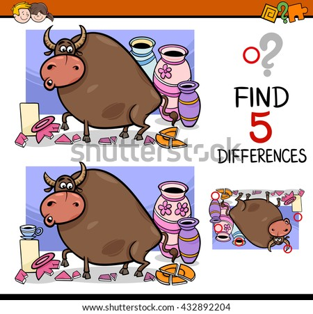 Cartoon Illustration of Finding Differences Educational Activity Task for Preschool Children with Bull in a China Shop Saying