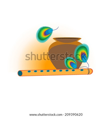 Cartoon illustration of  flute of Krishna with Peacock feather and pot with cream makhaan. For Janmashtami festival. Vector. On white background. Element for page design, corners, print, greeting.