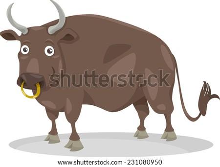 Cartoon Illustration of Funny Bull Farm Animal - stock vector