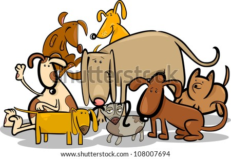 Cartoon Illustration of Funny Dogs or Puppies Group - stock vector