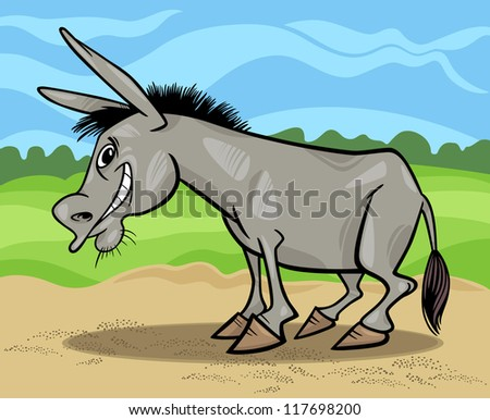 Cartoon Illustration of Funny Donkey Farm Animal against Blue Sky and Field - stock vector
