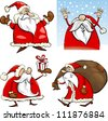 Cartoon Illustration of Funny Four Christmas Santa Clauses set - stock photo