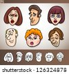Cartoon Illustration of Funny People Set with Men and Women Heads plus Black and White versions - stock vector