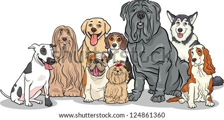 Cartoon Illustration of Funny Purebred Dogs or Puppies Group - stock vector