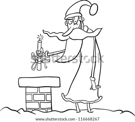 Cartoon Illustration of Funny Santa Claus or Papa Noel on the Roof with Stick of Dynamite as Christmas Present for Coloring Book