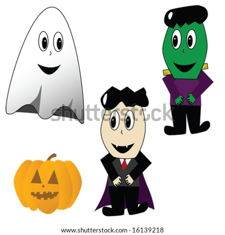 Cartoon illustration of Halloween characters: ghost, vampire, frankestein and jack-o-lantern - stock vector