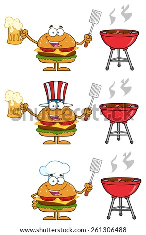 Cartoon Illustration Of Hamburger Characters 5.  Vector Collection Set Isolated On White - stock vector