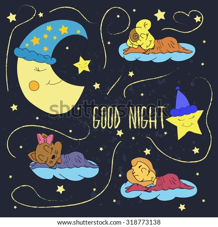 Cartoon illustration of hand drawing of a smiling moon, the stars and sleeping babies wishing good night in the starry sky. Vector illustration