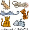 Cartoon Illustration of Happy and Sleepy Cats or Kittens Set - stock vector