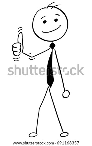 Cartoon illustration of happy smiling stick man businessman, manager, clerk or politician posing with thumbs up gesture