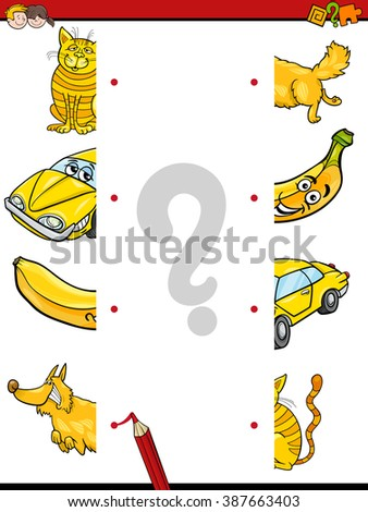 Cartoon Illustration of Kindergarten Education Halves Matching Activity Task for Children