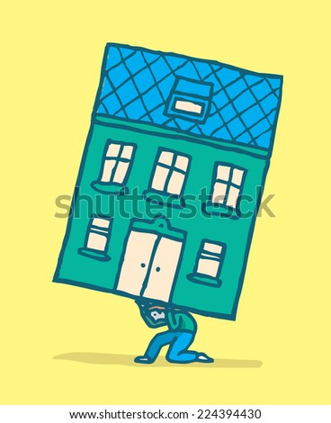 Cartoon illustration of man moving his home by carrying it on his back - stock vector