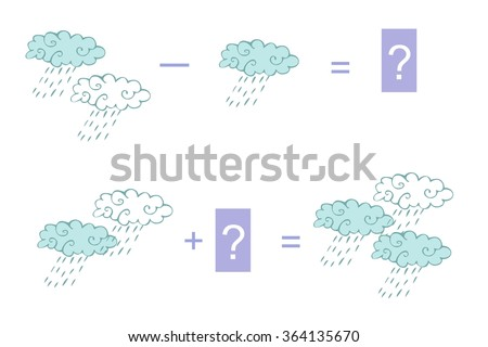 Cartoon illustration of mathematical addition and subtraction. Examples with clouds. Educational game for children. - stock vector