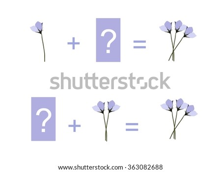 Cartoon illustration of mathematical addition. Examples with tender flowers. Educational game for children. - stock vector