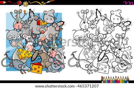 Cartoon Illustration of Mouse and Rat Characters Coloring Book Activity