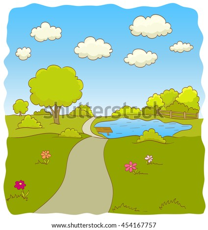 Cartoon illustration of nature landscape with road, trees, bushes, flowers, lake, sky and clouds. vector