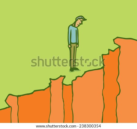 Cartoon illustration of pensive man looking down on the edge of a cliff - stock vector