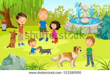 Cartoon illustration of Pet Owners in the Park. Training Dogs