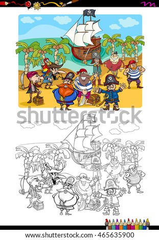 Cartoon Illustration of Pirate Characters Coloring Book Activity