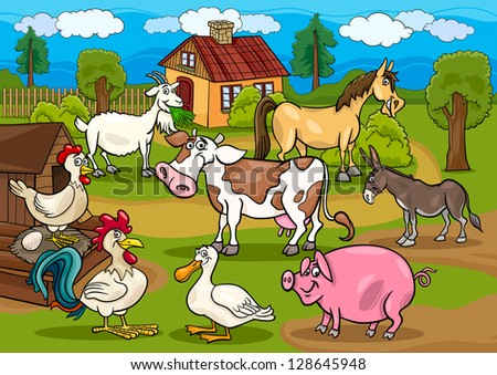 Cartoon Illustration of Rural Scene with Farm Animals Livestock Big Group - stock vector