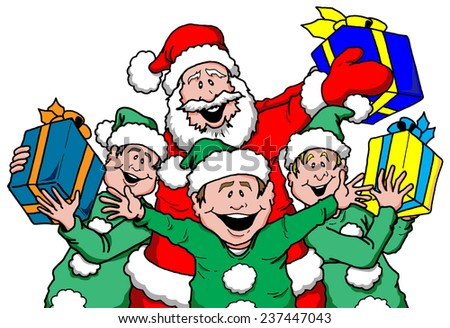 Cartoon illustration of Santa and Elf's with Gifts