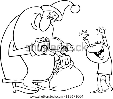 Cartoon Illustration of Santa Claus Giving Christmas Present to Little Boy for Coloring Book or Page - stock vector