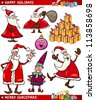 Cartoon Illustration of Santa Claus or Papa Noel, Elf, Presents and other Christmas Themes set - stock vector