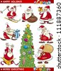 Cartoon Illustration of Santa Clauses, Christmas Tree and other Themes set - stock photo