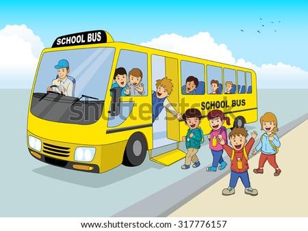 Passenger Van With Kids Inside Drawing