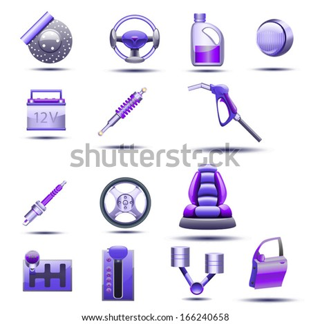 cartoon illustration of set different type of stuff for vehicle - stock vector