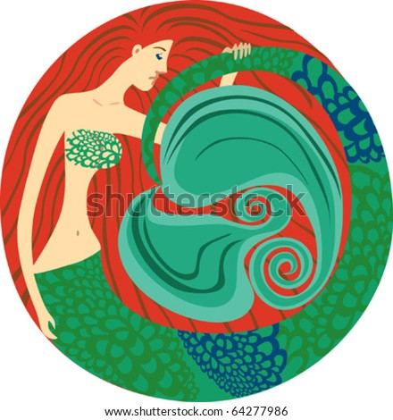 cartoon illustration of sexy mermaid - stock vector