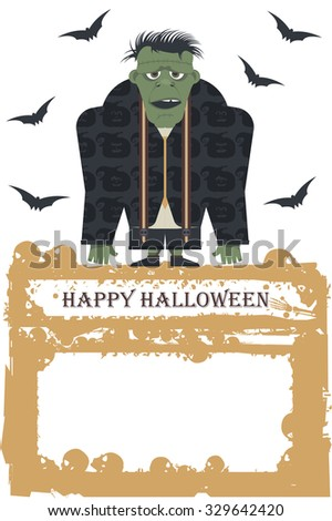 Cartoon Illustration of Spooky Halloween Zombie.Vector image can be used for Halloween greeting card, posters, banners , invitation  and more designs. - stock vector