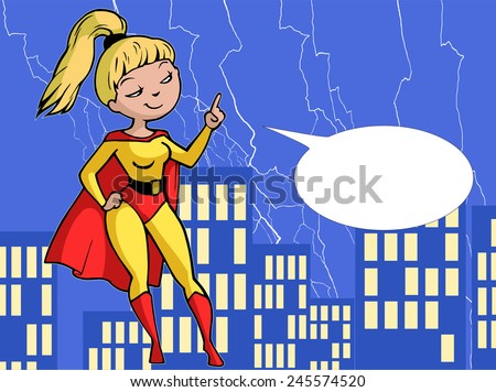 Cartoon illustration of super girl in bright red and yellow costume flying and pointing up - stock vector