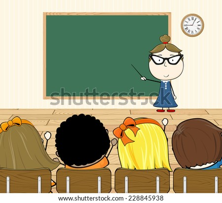cartoon illustration of teacher and students in classroom - stock vector