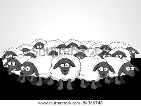 Sheep Flock Drawing The Flock of Sheep Stock