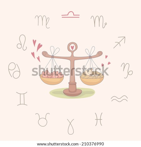 Cartoon illustration of the scales (Libra). Part of the set with horoscope zodiac signs. EPS 10. No transparency. No gradients. - stock vector