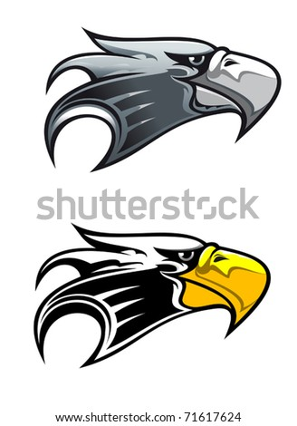 Cartoon illustration of the side view of the head of a proud eagle with a cruel hooked beak in two colour variants isolated on white. Jpeg version also available in gallery - stock vector