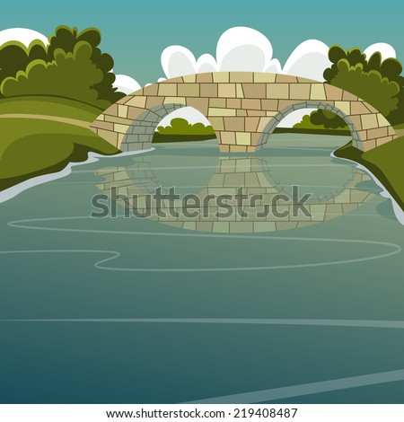 cartoon illustration of the stone bridge over the river