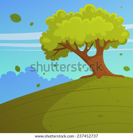 Cartoon illustration of tree on the hill, summer landscape.
