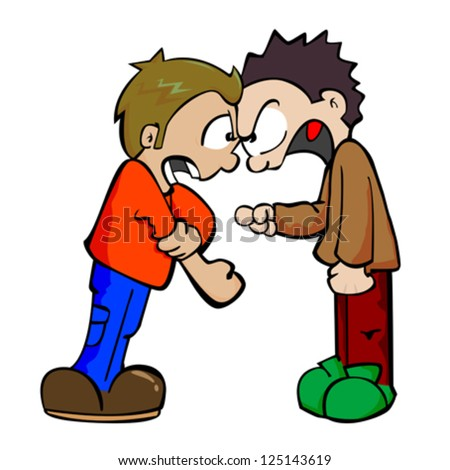 cartoon illustration two boys fighting stock vector 125143619 rh shutterstock com  arguing conflict clipart