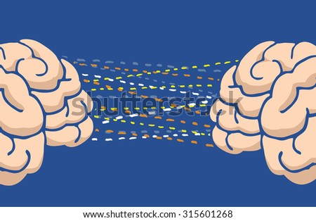 Cartoon illustration of two minds or brain communication or connection - stock vector
