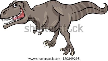 Cartoon Illustration of Tyrannosaurus Dinosaur Prehistoric Reptile Species - stock vector