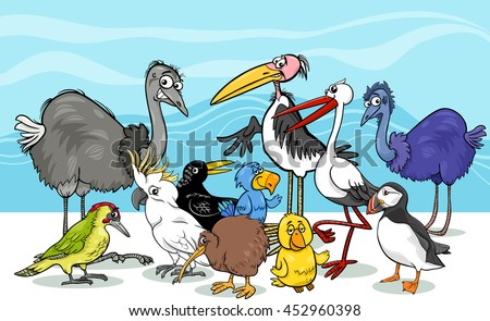 Cartoon Illustration of Various Birds Animal Characters Group