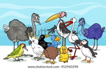 Cartoon Illustration of Various Birds Animal Characters Group - stock vector