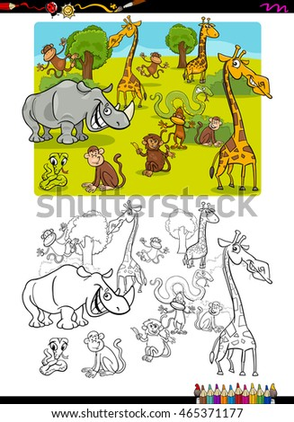Cartoon Illustration of Wild Safari Animal Characters Coloring Book