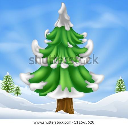 Cartoon illustration of winter scene and Christmas tree - stock vector